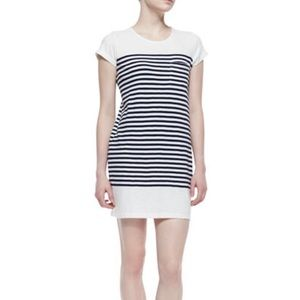 NWT Joie White Blue Striped Short Sleeve Dress 298